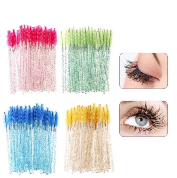50 Escovinhas Com Glitter Extensão de Cílios e Sobrancelha - Verde Com Glitter
