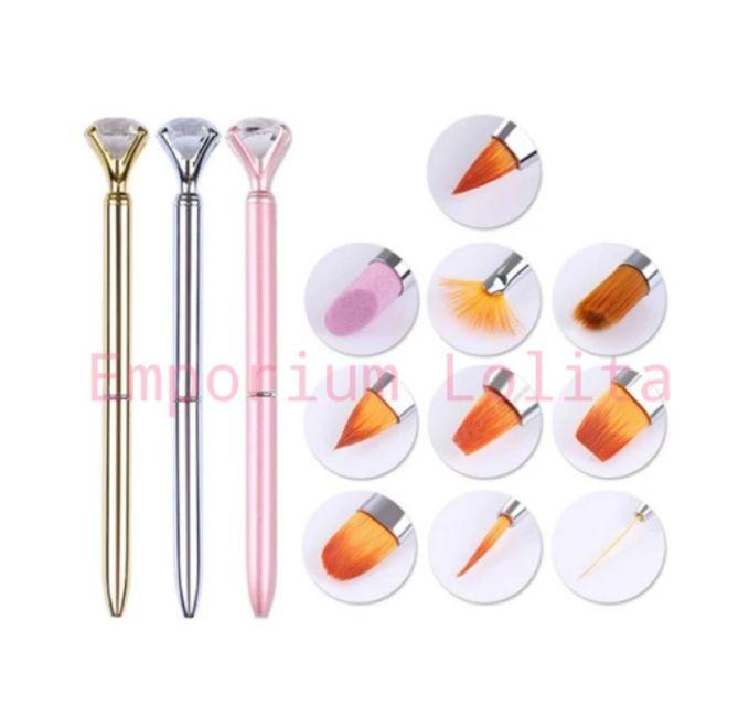 Kit Pincel Diamante Diversas Ponteiras 10 Pincéis Porcelana Gel Decoração Língua de Gato Lixa Manicure 10 em 1