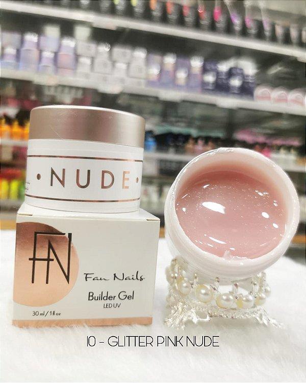 Builder Gel Fan Nails - Glitter Pink Nude 30ml- Autonivelante Auto Brilho linha nude Extenção e construção de unhas manicure