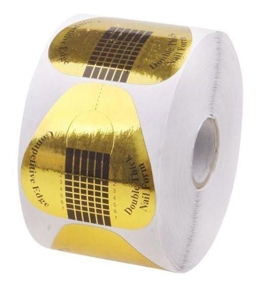 Moldes Descartáveis Para Unhas De Porcelana Ou Gel Redondo dourado 500 Unidades