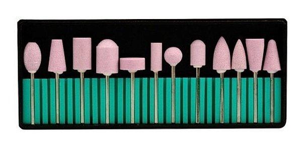 Kit Brocas Lixa Polidora Para Unhas De Porcelana Rosa