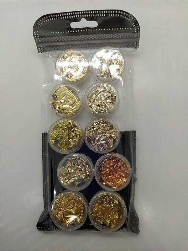 Kit Folhas De Ouro Para Unhas Encapsuladas Alongamento