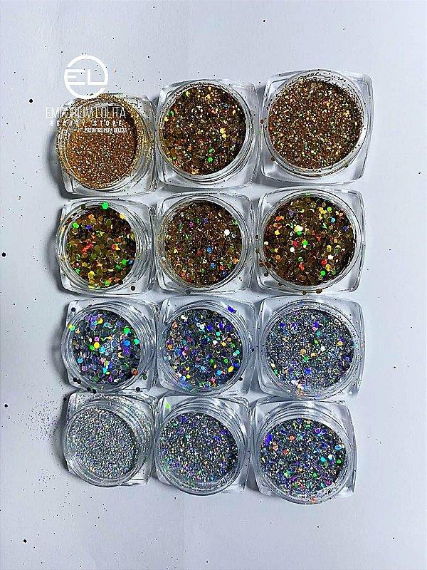 Kit 12 Decorações dourado, Prata e Glitter