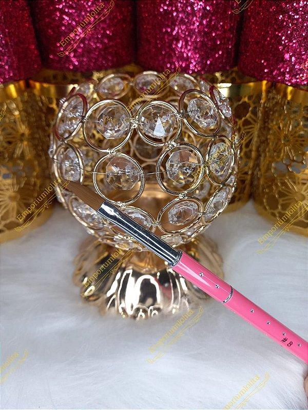 Pincel Kolinsky  - Para Unha em Porcelana e Acrílico - Cerdas Naturais - Pink Luxo #8