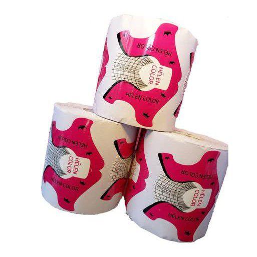 300 Moldes Adesivos para Unhas em Gel Rosa e Preto
