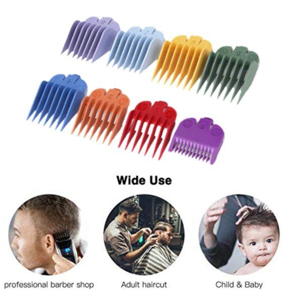 Hair clipper substituição bainha 8 cores & tamanho limite pente acessório guia pente adequado para wahl trimmer com caixa de armazenamento