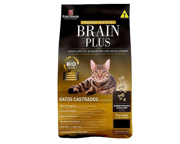 Brain Plus 1Kg para Gatos Castrados - Frango e Salmão