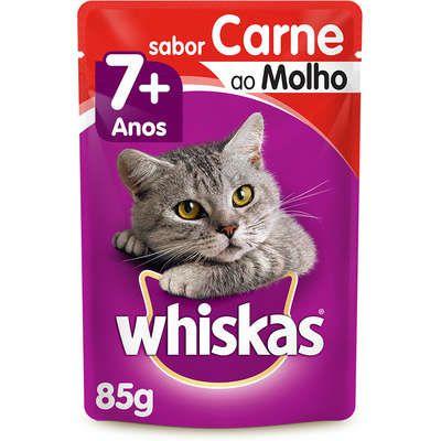 Sachê Whiskas Carne ao Molho para Gatos Adultos Sênior 7 + Anos