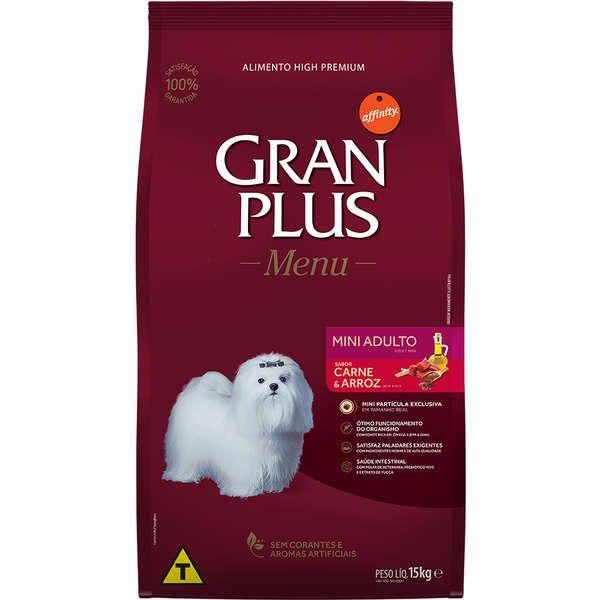 Gran Plus Menu  para Cães Mini Adultos 10,1Kg - Carne e Arroz