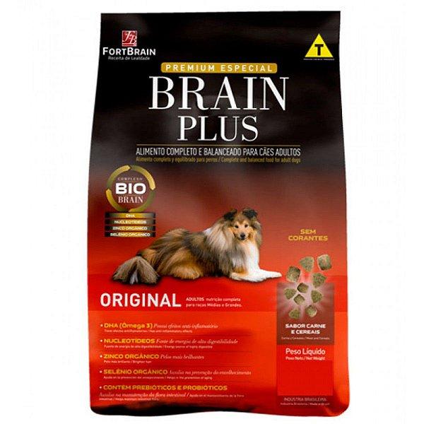 Brain Plus 14Kg para cães Adultos - Carne e Cereais