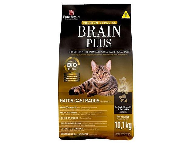 Brain Plus 20Kg para Gatos Castrados - Frango e Salmão