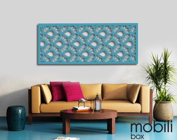 Painel Decorativo Cobogó Linha Botânica GIGLIO - mdf cru em 6 mm -  60 cm x 25 cm