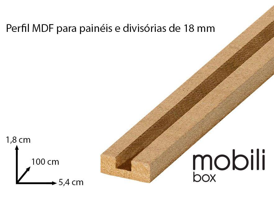 """Perfil para fixação de Painel Divisória Vazado Cobogó 18mm - TIPO """"U"""" - Barra de 1,0 m em mdf cru"""