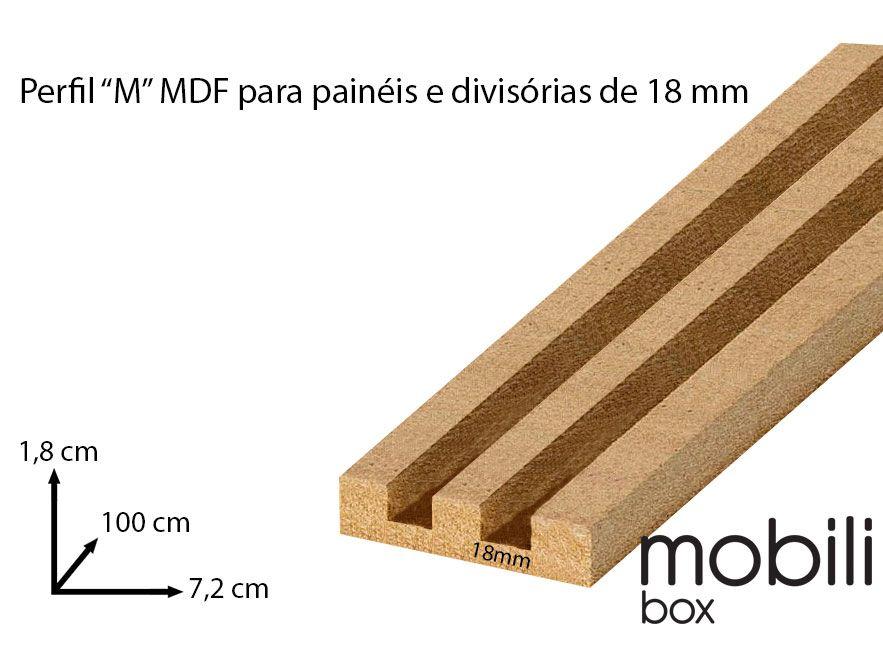 """Perfil para fixação de Painel Divisória Vazado Cobogó 18 mm - TIPO """"M"""" - Barra de 1,0 m em mdf cru"""