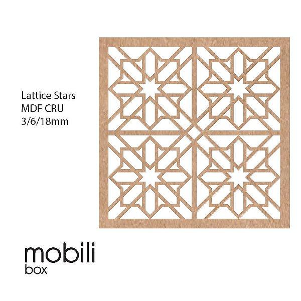 Painel Decorativo Cobogó Linha Classic LATTICE STARS - mdf cru 100 x 100 cm