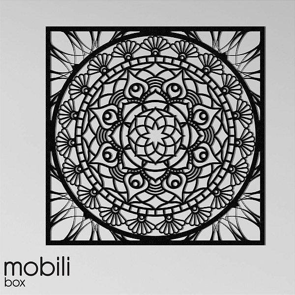 Mandala Clássica Emoldurada Flores Prosperidade 60 cm em mdf cru