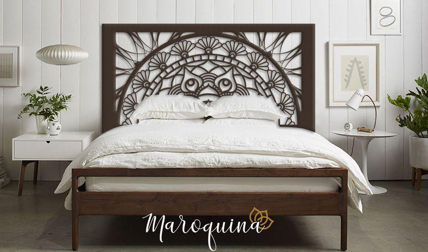 Cabeceira Cama Casal Mandala Flores Prosperidade 140 x 70 cm em mdf cru 12 mm