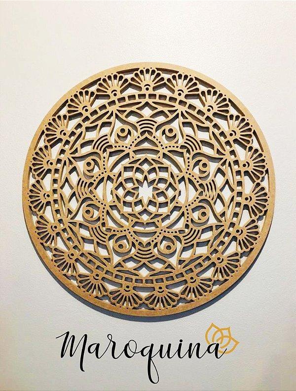 Mandala Clássica Flores Prosperidade 60 cm em mdf cru