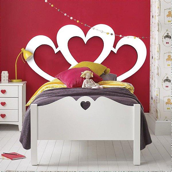 Cabeceira Cama Solteiro Triple Heart 90 x 45 cm em mdf cru 12 mm