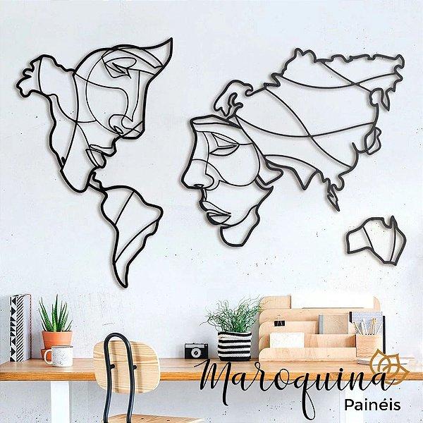 Quadro Mapa Mundi Face The World - 100 x 60 cm em mdf cru 6 mm