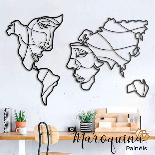 Quadro Mapa Mundi Face The World - 100 x 60 cm em mdf branco 6 mm