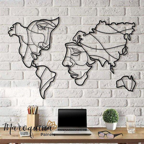 Quadro Mapa Mundi Face The World - 100 x 60 cm em mdf preto 3 mm