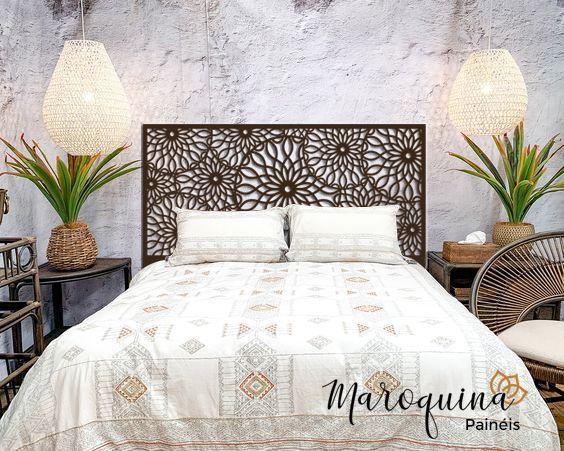 Cabeceira Cama Queen Marrakesh 160x80cm em MDF Natural 4 mm