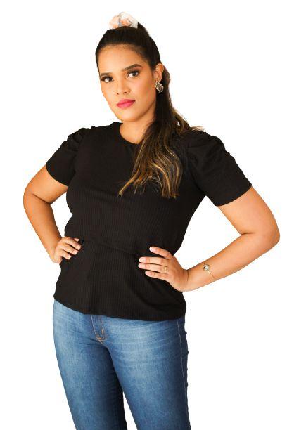 Camiseta Princesa Amamentação Preta Canelada  GG