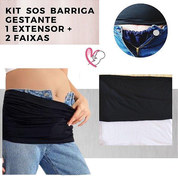 Kit SOS Barriga Gestante - 1 Extensor de Calça + 2 faixas