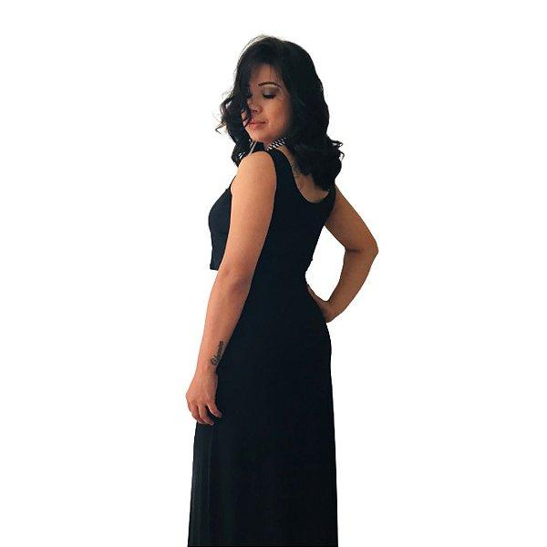 Vestido Amamentação Elisa - Longo Preto P e GG