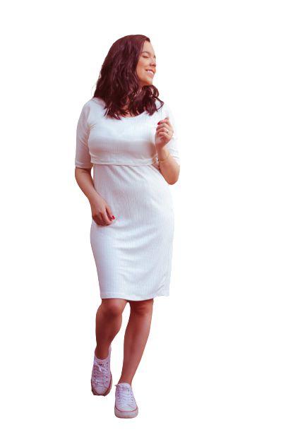 Vestido Ana Mangas - Off-White Canelado  - P, M e G