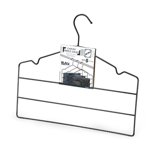 Cabide Triplo Para Calça PRETO - Cx 06 Unid - 36 x 30 cm