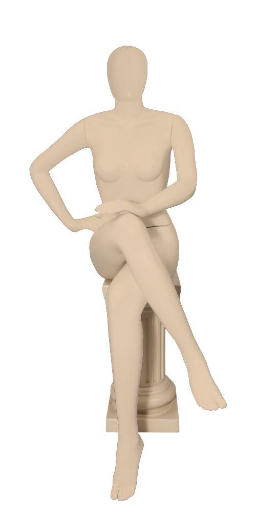 Manequim Plástico Feminino Sentada - Com Cabeça - (R.6745, K.6745, P.6745)