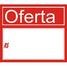 Etiqueta pvc Oferta vermelho - 110 mm x 95 mm - Pct 30 Unid