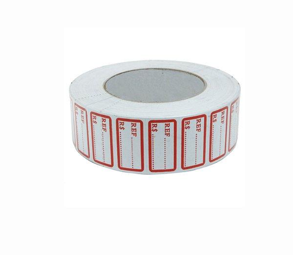 Etiqueta Referência R$ Tarja Vermelha Rolo - 25 mm x 17 mm - 1000 Unid