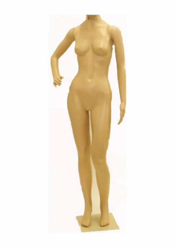Manequim Plástico R.52C Feminino Sem Cabeça Bege