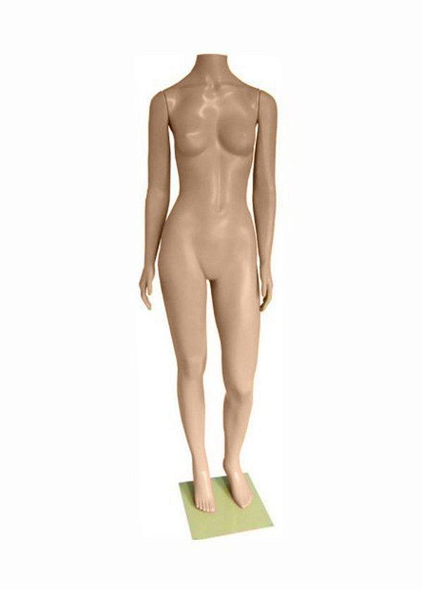 Manequim Plástico R.52N Reto Feminino Sem Cabeça Bege