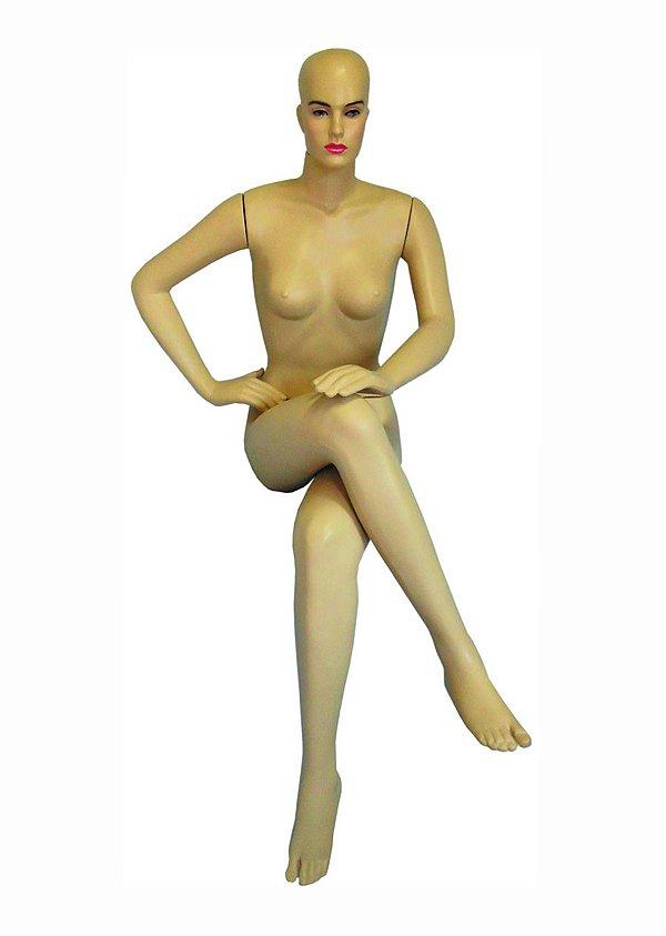 Manequim Plástico R.6727 Sentada Cabeça Ovo Bege