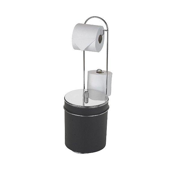 Suporte De Chão Para Papel Higiênico Com Lixeira Tampa Inox Premium - 20 x 55 x 28,5 cm