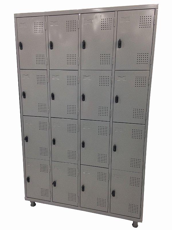 Roupeiro 16 Portas Para Cadeado Cinza - 125 x 198 x 42 cm