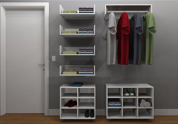 Kit Closet MDF Linear - Cabideiro/Nichos/4 Prateleiras