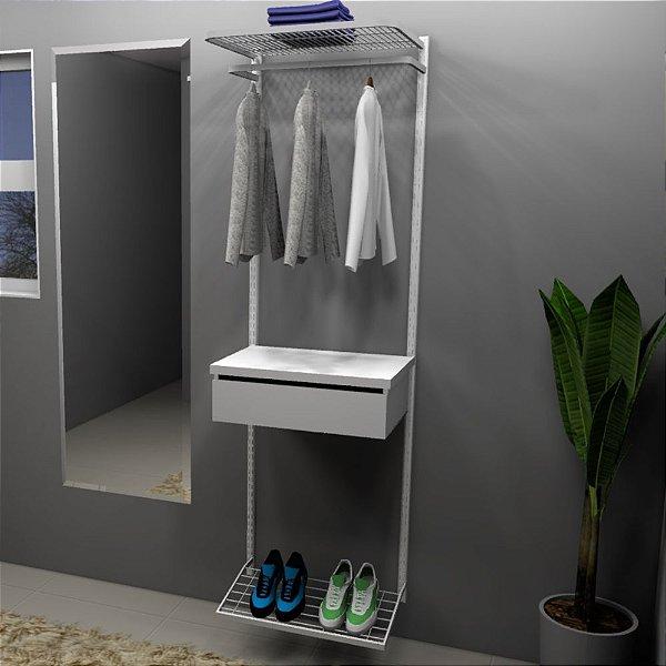 Kit Closet Cabideiro/Gaveteiro/Prateleiras/Sapateira - 60 x 200 cm