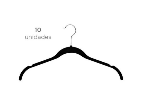 Cabide Veludo Fixel Camiseta Preto - Pct 10 Unid