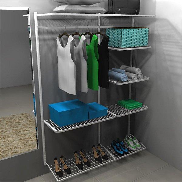 Kit Closet Cabideiro/Prateleiras/Sapateira - 150 x 200 cm