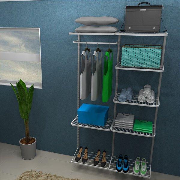 Kit Closet Cabideiro/Prateleiras/Sapateira - 120 x 200 cm