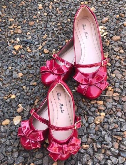Sapatilha Verniz Vermelha Laço Bico Redondo