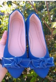 Sapatilha Adulta Azul com Laço Quadrado