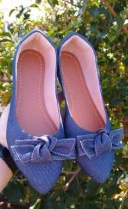 Sapatilha Adulta Jeans com Laço quadrado