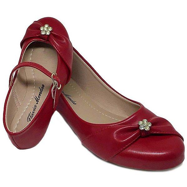 Sapatilha Vermelha Napa Vermelha Bico Redondo