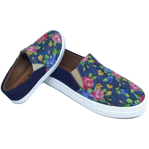 Tenis Iate Jeans Azul Floral
